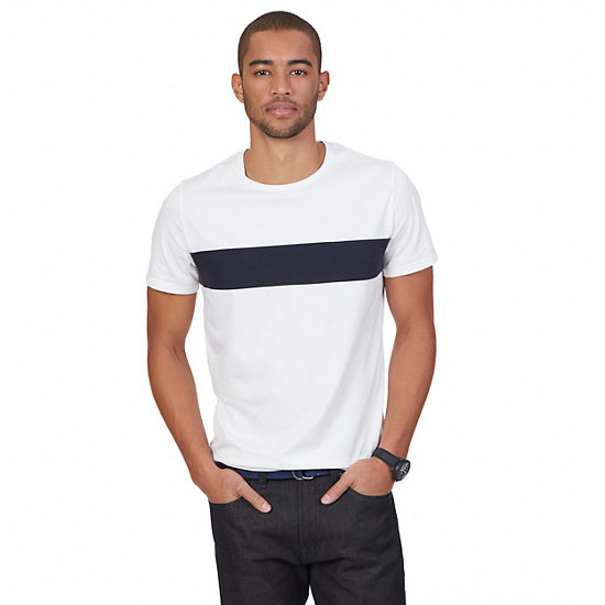 Pieced Stripe Cotton-Silk T-Shirt,Bright White,large