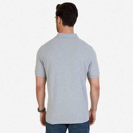 Solid Pique Deck Polo Shirt,Grey Heather,large