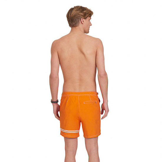 Quick Dry Contrast Stripe Swim Trunk,Burnt Orng/acid Orng,large
