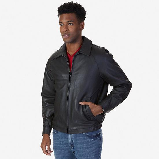Leather Bomber Jacket,Black,large