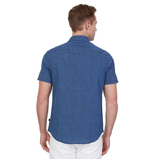 Printed Chambray Short Sleeve Shirt,Blue Moon  17-4328,large