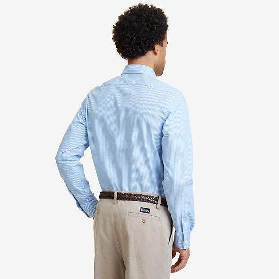 Wrinkle Resistant Striped Shirt,Indigo Heather,large