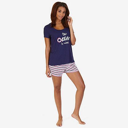 Graphic Tee & Striped Short Pajama Set - 964