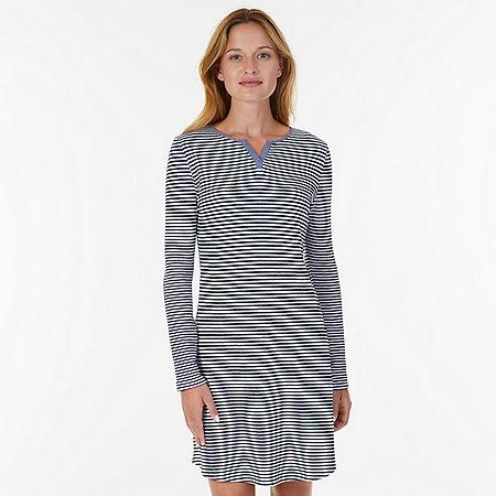 Chambray Stripe Sleep Shirt  - Arctic White