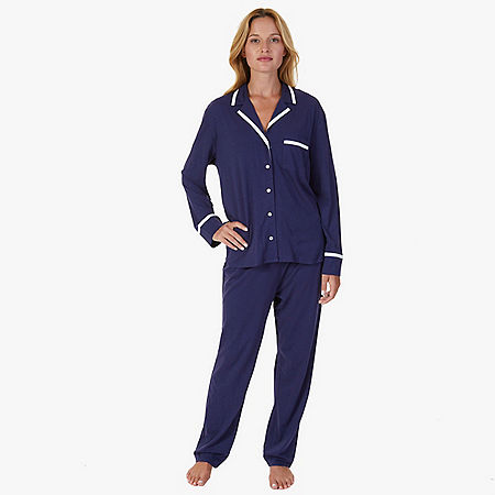 Contrast Piping Jersey Knit Pajama Set - Deep Sea Navy