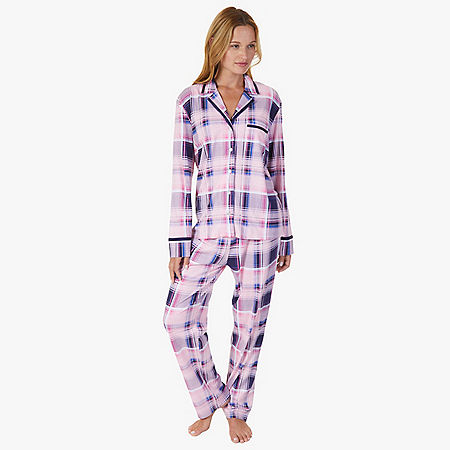Plaid Jersey Knit Pajama Set - Shipwreck Burgundy