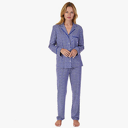 Printed Pajama Set - Navy
