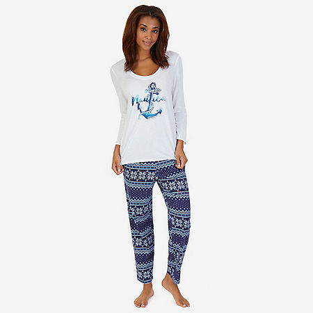 Graphic Sleep Tee & Printed Pant Pajama Set - Navy