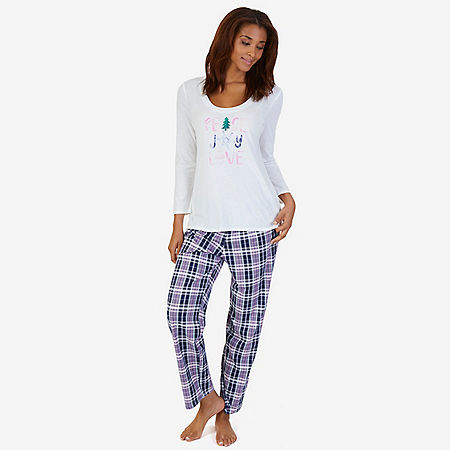 Graphic Sleep Tee & Printed Pant Pajama Set - Pilot Blue