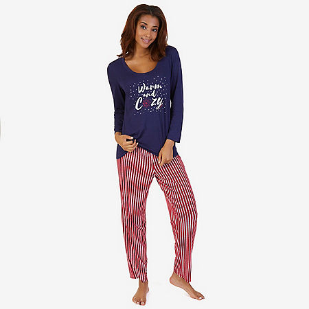 Graphic Sleep Tee & Printed Pant Pajama Set - Crimson