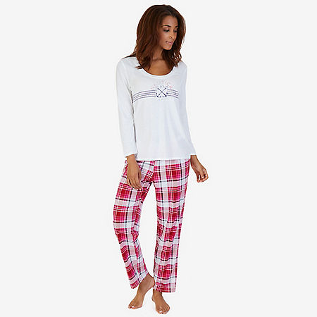 Graphic Sleep Tee & Printed Pant Pajama Set - Petunia