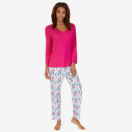 V-Neck Sleep Tee & Printed Pant Pajama Set - Pine Tree