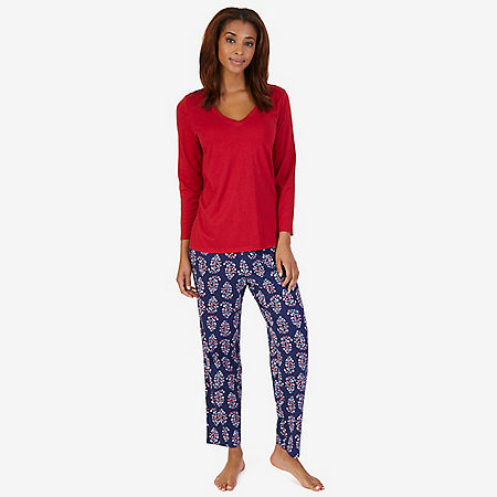 V-Neck Sleep Tee & Printed Pant Pajama Set - Pilot Blue