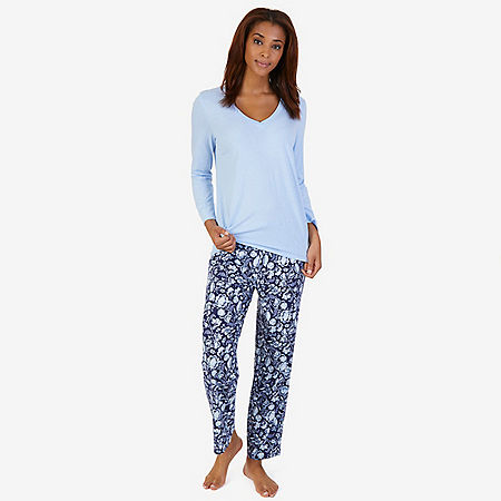 V-Neck Sleep Tee & Printed Pant Pajama Set - Sky Blaze