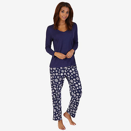 V-Neck Sleep Tee & Printed Pant Pajama Set - undefined
