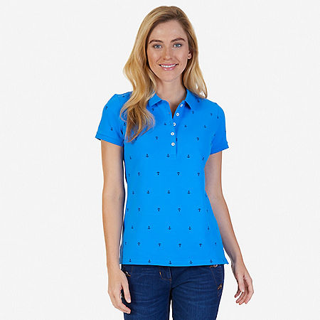 Allover Anchor Polo Shirt - Naval Blue