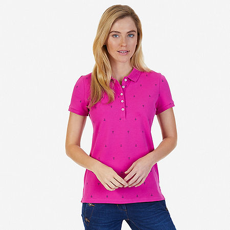 Allover Anchor Polo Shirt - Barely Pink