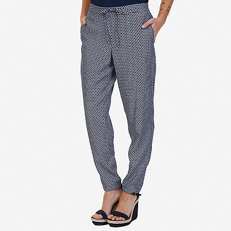 Printed Drapey Pant - Indigo Heather