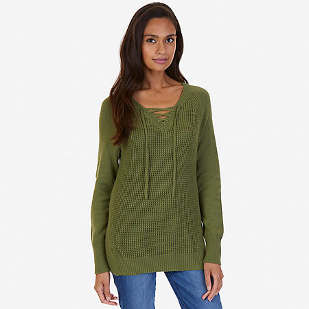 Lace Up Sweater - Light Olive