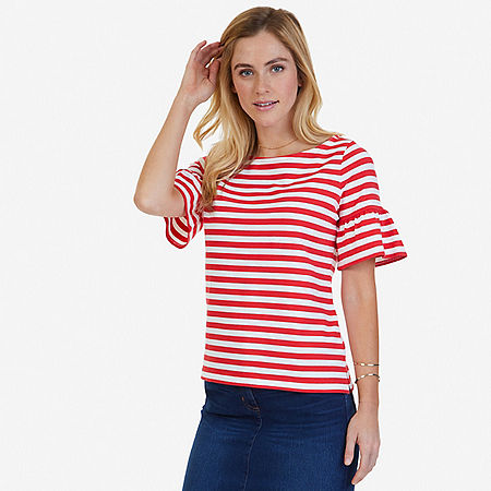 Striped Ruffle Sleeve Top - Desert Rose