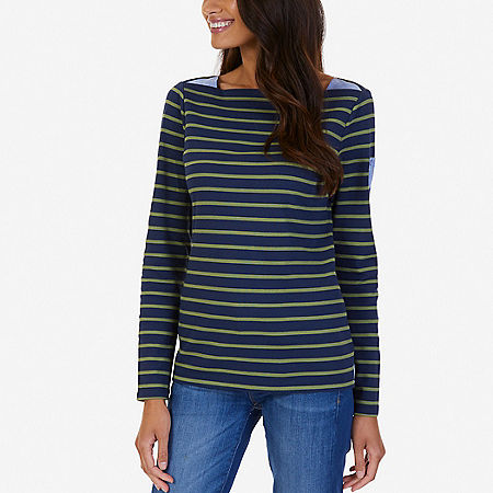 Striped Chambray Accent Top - Dreamy Blue