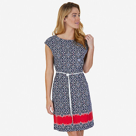 Printed Self-Belt Dress - Indigo Heather