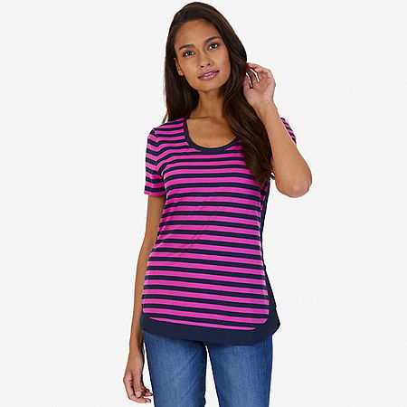 Side Button Striped Top - Barely Pink