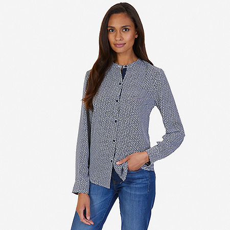 Printed Georgette Blouse - Indigo Heather