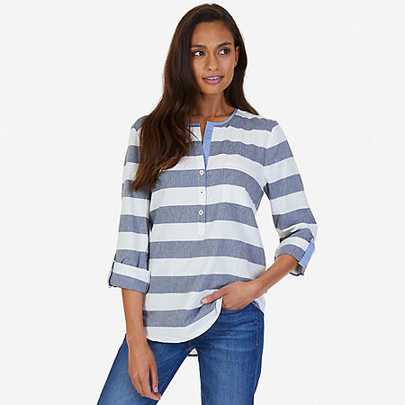 Striped Popover Shirt - Marshmallow