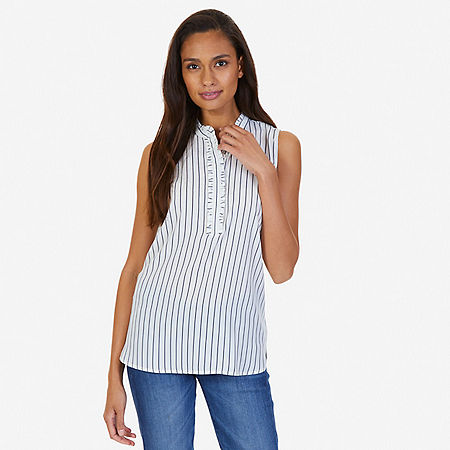 Multi Stripe Sleeveless Top - Bright White
