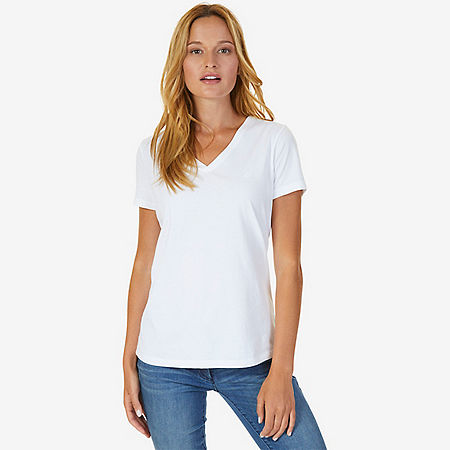 V-Neck Tee - Bright White
