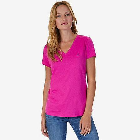 V-Neck Tee - Barely Pink