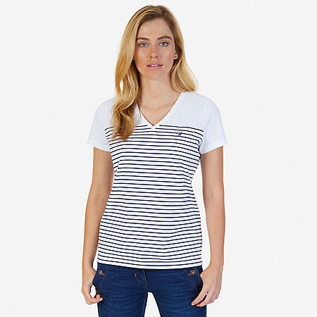 Striped V-Neck Tee - Bright White