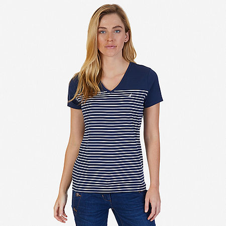 Striped V-Neck Tee - Dreamy Blue