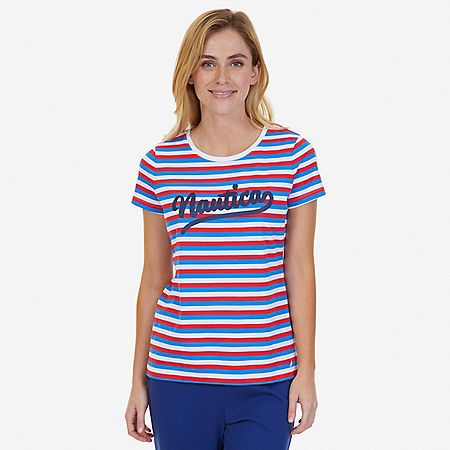Striped Signature Tee - Bright White