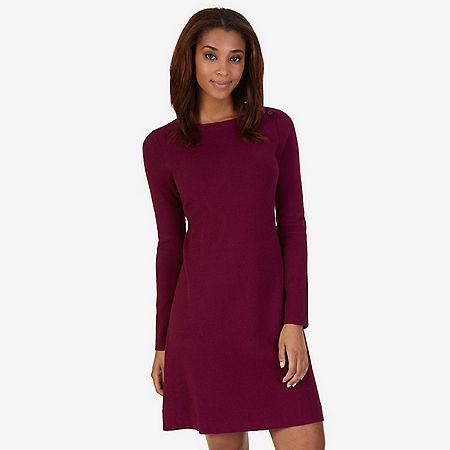 Shoulder Button Dress - Port Scarlet