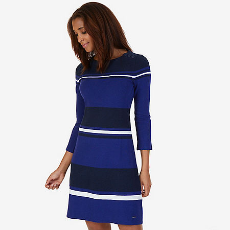 Shoulder Button Striped Dress - Navy