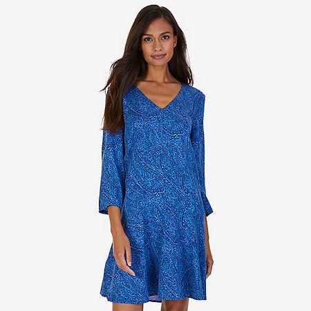Printed Flare Dress - Estate Blue