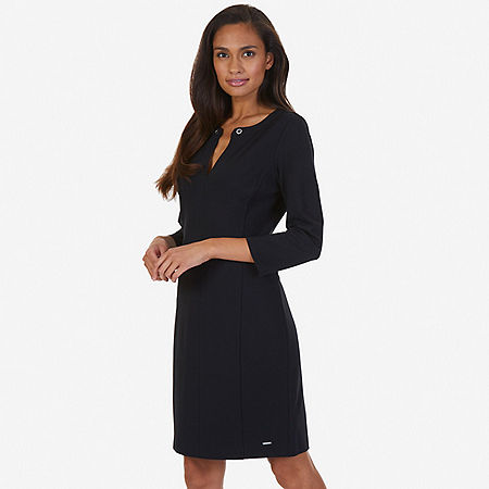 Grommet Ponte Dress - True Black