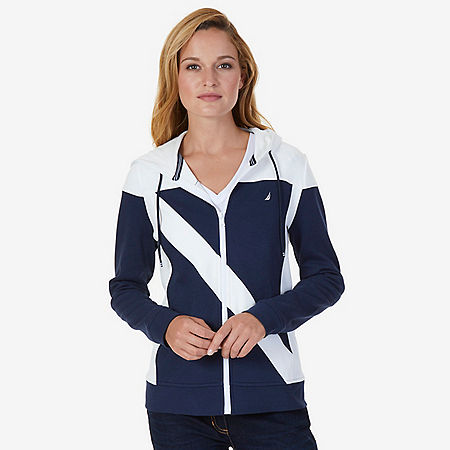Color Block Heritage Full-Zip Hoodie - Dreamy Blue