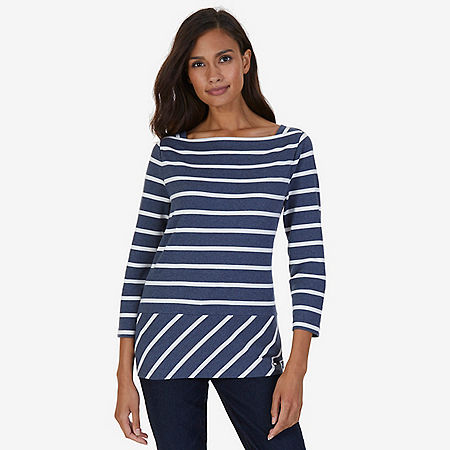 Striped Envelope Neck Top - Blue Race