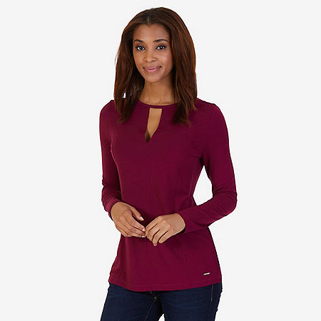 Cutout V-Neck Top - Port Scarlet