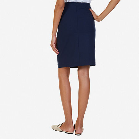 Above-the-Knee Ponte Skirt - Indigo Heather