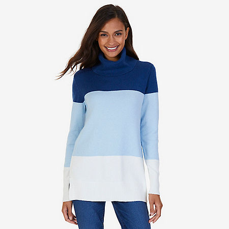 Colorblocked Turtleneck Sweater - Clear Skies Blue
