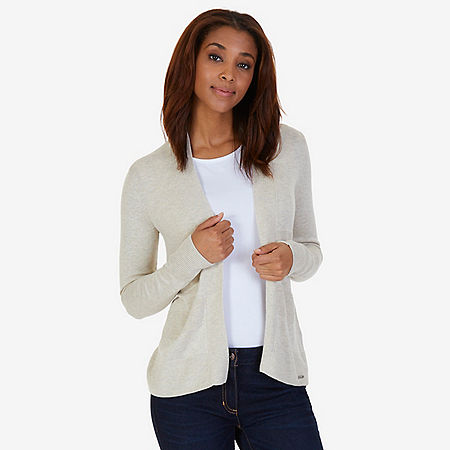 Textured Stripe Flyaway Cardigan - Sand Drift