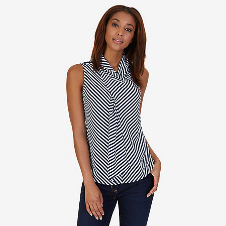 Striped Scarf Neck Top - Dreamy Blue