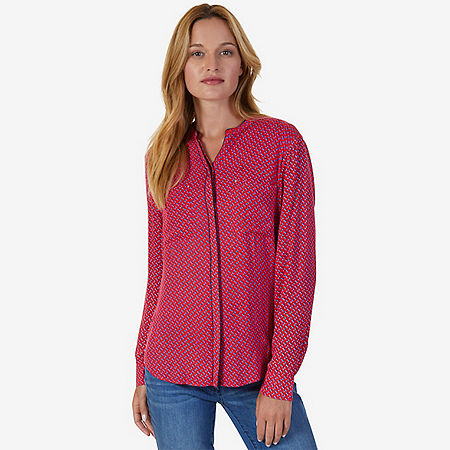 Diamond Geo Print Shirt - Tomales Red