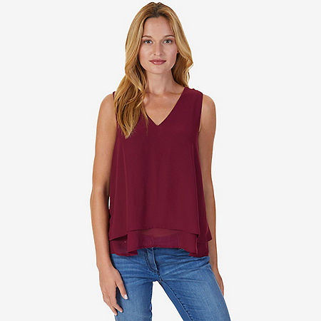 Double Layered Sleeveless Top - Port Scarlet
