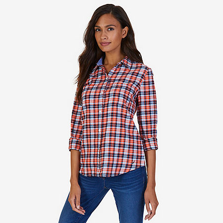 Plaid Cotton Flannel Shirt  - Icelantic Orange