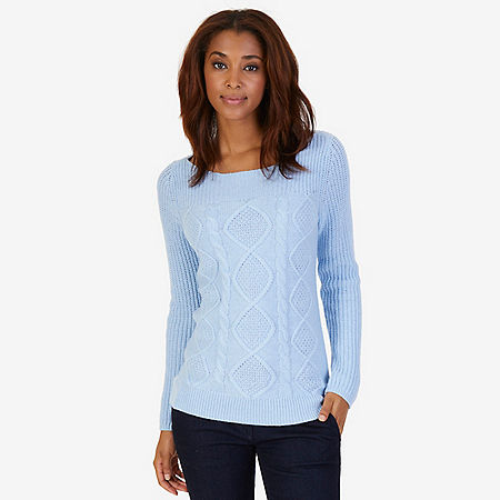 Boatneck Cable Sweater - Crystal Bay Blue